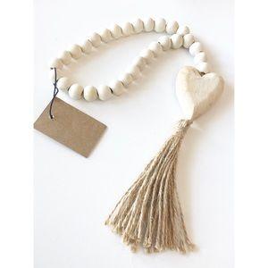 Paulownia Wood Beads w/Heart Pendant & Jute Tassel
